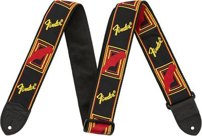 "Fender 2"" Monogrammed Guitar Strap / Black / Yellow / Red"