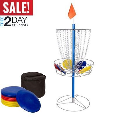 Portable Metal Disc Frisbee Golf Goal Set Comes with 9 Discs Basket Discgolf NEW