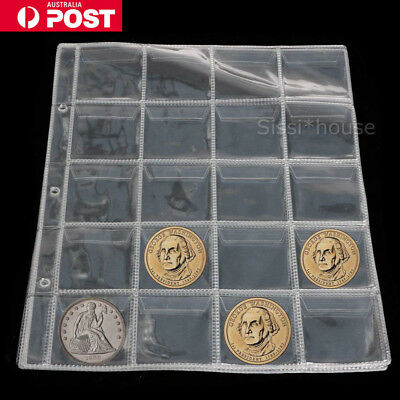 10 Page 20 Pockets Plastic Coin Holders Storage Collection Money Album Case New