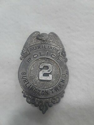 Vintage Obsolete Burlington Township New Jersey Auxiliary Police Badge