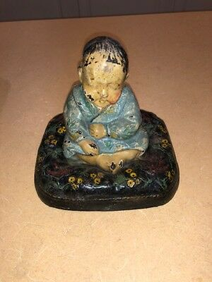 Antique Hubley # 61 Art Deco Japanese Boy Pillow Birds Cast Iron Statue Doorstop