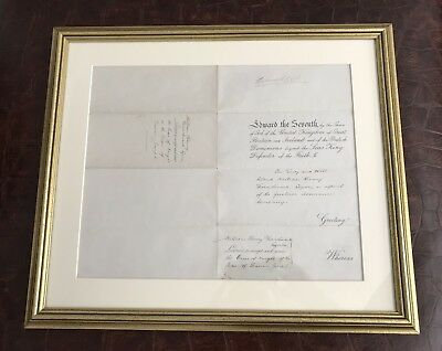 RARE Museum Quality Framed King Edward the Seventh VII Signed Document Signatue