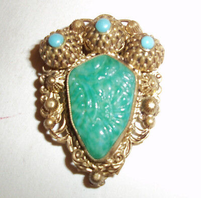 1930s ART DECO CZECH MAX NEIGER Chinese Style  Green Glass Brooch / Clip