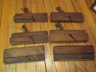 Lot of 6 Vintage Antique Collectible Wood Molding Hand Planes circa 1800's