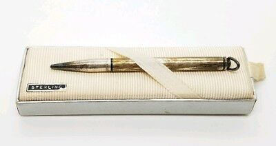 Vintage Signed Cross Sterling Silver Miniature Art Deco Mechanical Pencil & Box