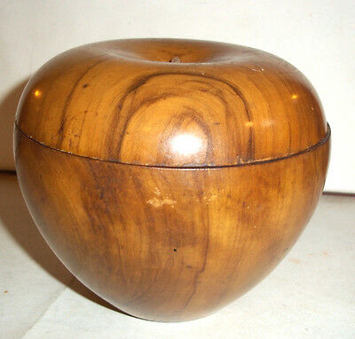 Unusual Large Vintage /  Antique  Fruit wood Apple Shaped Lidded Box