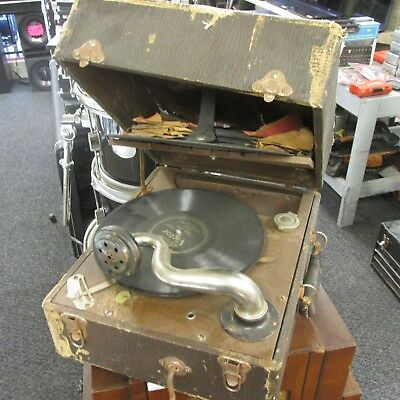 Vintage Phonograph Hand cranked Carryola w/records for parts/display steampunk
