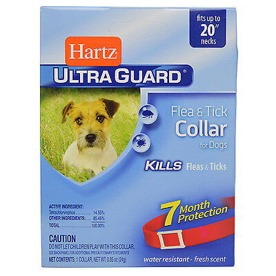 """Hartz Ultraguard Flea and Tick Collar for Dogs 20"""" Neck RED 7 Months"""