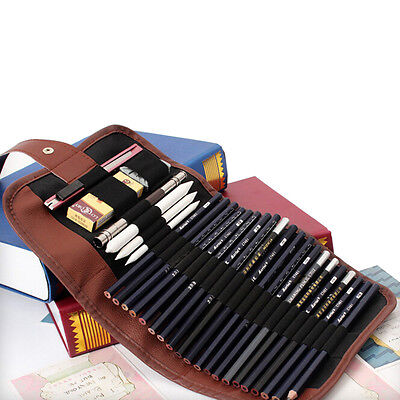 BD_24x Set Sketch Pencils case Charcoal Extender Pencil shade Cutter Drawing Bag