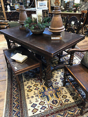 19th C FRENCH OAK REFACTORY TABLE with 6 CHAIRS