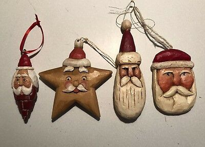 4 Carved Wood Santa Claus Primitive Folk Art Ornament