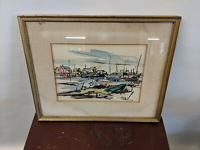 Watercolor Painting Mid Century Harbor Scene Signed Schlemm