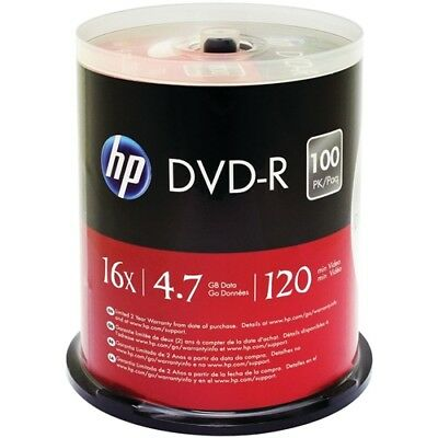 200 Pack HP 16X Logo Blank DVD-R DVDR Recordable Disc Media 4.7GB With Cake BOX