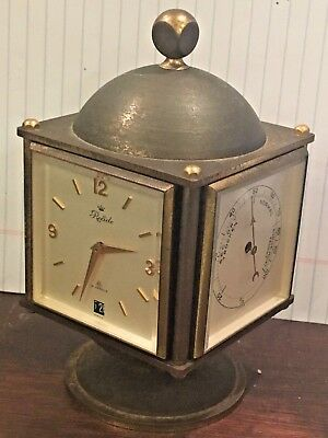 Vintage Relide French Solid brass 4 sided Swiss Clock barometer thermometer 15JW