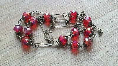 Czech Lustre Red Faceted Glass Bead Necklace Vintage Deco Style