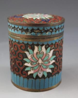 Chinese Republic Period Champleve Enamel & Copper Tea Caddy Round Covered Jar