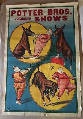 RARE! POTTER BROS SHOWS CIRCUS CARNIVAL POSTER - 1920s ORIGINAL ERIE LITHO