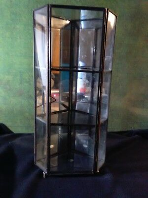 Vintage Metal and Glass Mirrored Small  Curio Display Cabinet w. Door Pre-Owned