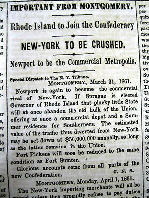 1861 Civil War newspaper RHODE ISLAND threatens to JOIN the CONFEDERATE STATES