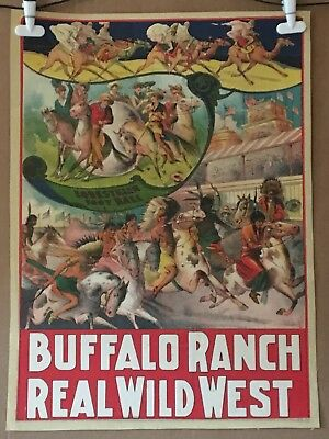 Buffalo Ranch Wild West Circus Poster - Original Stone Litho