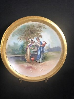 """Antique Limoges Hand Painted Plate Blakeman & Henderson Women At Well 7"""" 6N"""
