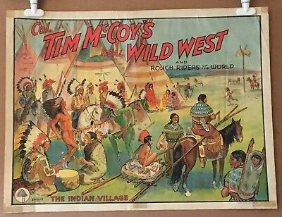 TIM McCOY'S WILD WEST SHOW ROUGH RIDERS CIRCUS POSTER - 40s ORIGINAL STONE LITHO