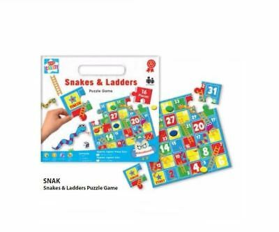 Traditional Games Snakes and Ladders Puzzle Party Game Kids Fun Family Travel
