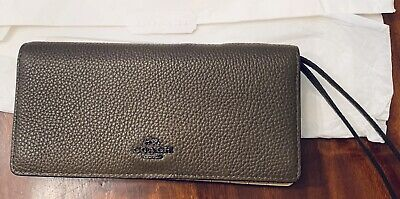 61fe0295941a6 NEW COACH 23590 Bifold Slim Wallet Wristlet Leather Colorblock FATIGUE Brown