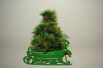 Vintage Plastic Sleigh with Tree Centerpiece Kitsch Christmas