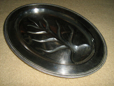 """Vintage WM Rogers Footed Meat Tray Platter Dish Silver Plate Tree Of Life 16"""""""