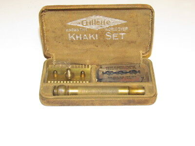 Vtg Ww1 Army Gillette Khaki Set Safety Razor Shaving Kit & Case