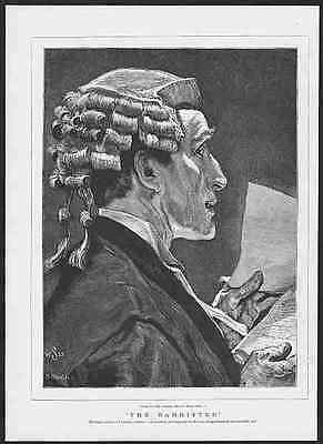 THE LAWYER IN COURT - ADDRESSING THE JURY  Outstanding 1875 Engraving (original)