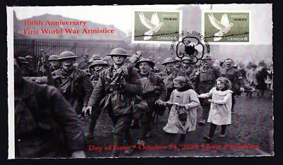 Canada limited edition 2018 FDC Armistice Anniversary, pair from booklet & pane