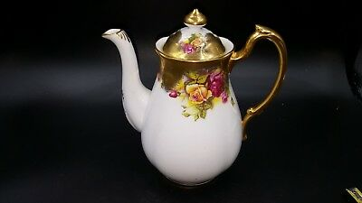 Royal Chelsea  Golden Rose Coffee Pot 3 Cup Mint