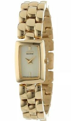 New Ladies Citizen Eco Drive EG2902-53P Jolie Goldtone Champagne Dial Watch