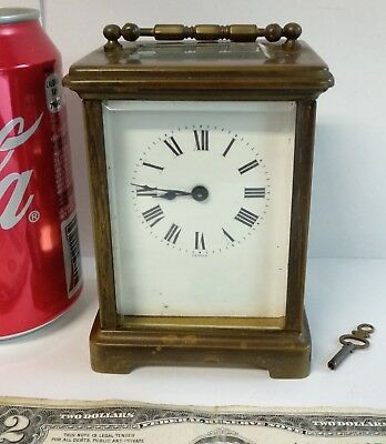 Antique French Carriage travel Mantle Clock Bronze & Glass H&H