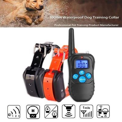 Dog Shock Training Collar Electronic Remote Control Waterproof 330 Yards 2 Dogs