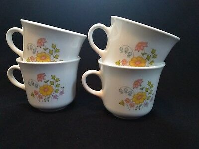 Set of 4 Corelle Corning Ware Spring Meadow Coffee Tea Cups Mugs NO MICROWAVE