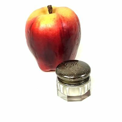 Small Antique Sterling Covered Cut Glass Jar Pill Box