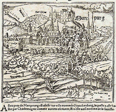 WOODCUT MAP & TOWN VIEW - 450 YEARS OLD - Munster - Marburg, Hesse, Germany