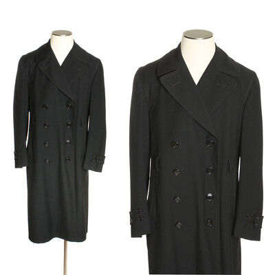 Vintage 1930s 40s Mens Double Breasted Wool Overcoat / Police Uniform Coat