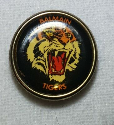 c1970s BALMAIN TIGERS RUGBY LEAGUE FOOTBALL CLUB TIN BACK PIN BADGE