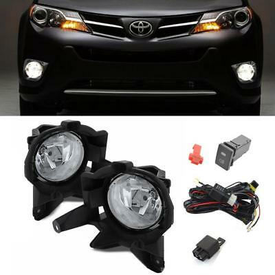 For 2013-2015 Toyota RAV4 Clear OE Style Driving Bumper Lamp Fog Lights w/Switch