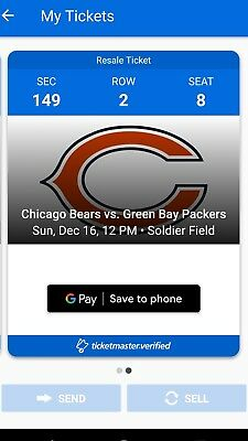 Chicago Bears vs Green Bay Packers 2 Two Tickets Seats Sunday 12/16/18 Rodgers