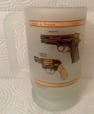 RARE  Smith & Wesson Pistol Gun Commemorative - Frosted Glass Mug by Kapan Kent