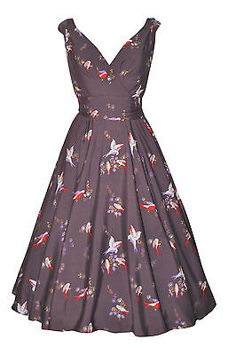 Vintage Retro 1940's 1950's Grey Bird Print Belted Tea Dress New Size 14
