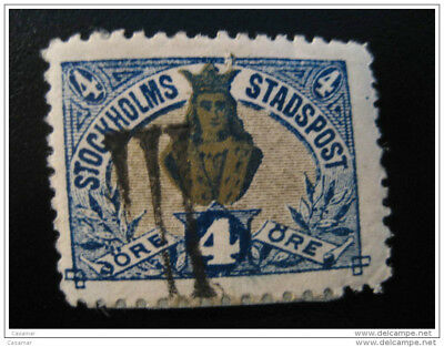 Stockholm 4 Ore LOCAL Lokal Post Stamp III Cancel LOCAL Stamp
