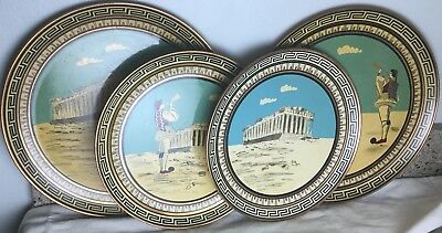 Set 4 Vintage Copper HandPainted Greek Plates Signed Made Greece Parthenon Nice!