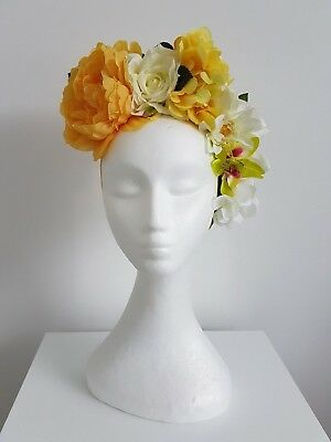Miss Boho womens floral flower headband fascinator in yellow / white multi