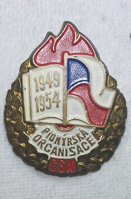 1954 CSM Pionyr Pioneer Youth Scouting Organisation 5th Anniversary Pin Badge